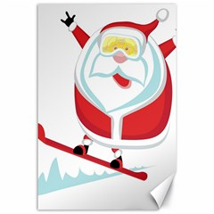 Christmas Santa Claus Playing Sky Snow Canvas 24  X 36