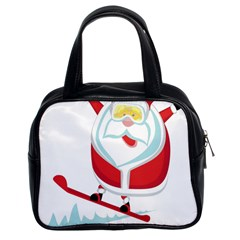 Christmas Santa Claus Playing Sky Snow Classic Handbags (2 Sides) by Alisyart