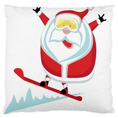 Christmas Santa Claus Playing Sky Snow Large Cushion Case (two Sides)