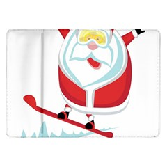Christmas Santa Claus Playing Sky Snow Samsung Galaxy Tab 10 1  P7500 Flip Case