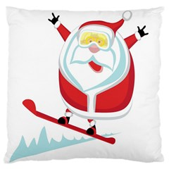 Christmas Santa Claus Playing Sky Snow Standard Flano Cushion Case (one Side)