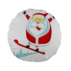Christmas Santa Claus Playing Sky Snow Standard 15  Premium Flano Round Cushions by Alisyart