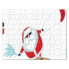 Christmas Santa Claus Snow Cool Sky Rectangular Jigsaw Puzzl by Alisyart