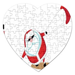 Christmas Santa Claus Snow Cool Sky Jigsaw Puzzle (heart) by Alisyart