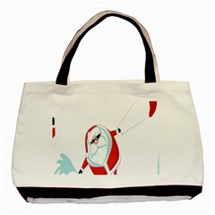 Christmas Santa Claus Snow Cool Sky Basic Tote Bag (two Sides) by Alisyart