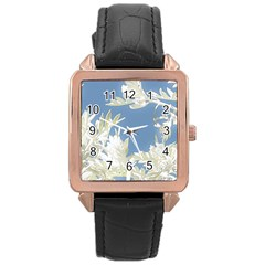 Nature Pattern Rose Gold Leather Watch  by dflcprintsclothing