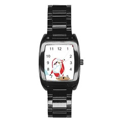 Christmas Santa Claus Snow Cool Sky Stainless Steel Barrel Watch by Alisyart