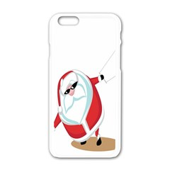 Christmas Santa Claus Snow Cool Sky Apple Iphone 6/6s White Enamel Case by Alisyart
