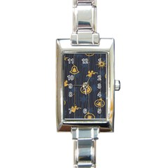 Christmas Angelsstar Yellow Blue Cool Rectangle Italian Charm Watch by Alisyart