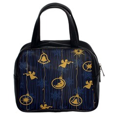 Christmas Angelsstar Yellow Blue Cool Classic Handbags (2 Sides)