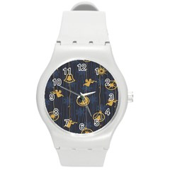 Christmas Angelsstar Yellow Blue Cool Round Plastic Sport Watch (m)