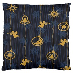 Christmas Angelsstar Yellow Blue Cool Large Flano Cushion Case (two Sides)