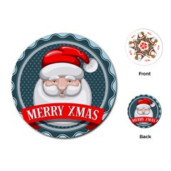 Christmas Santa Claus Xmas Playing Cards (round)