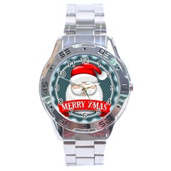 Christmas Santa Claus Xmas Stainless Steel Analogue Watch by Alisyart