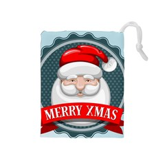 Christmas Santa Claus Xmas Drawstring Pouches (medium)  by Alisyart