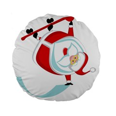 Christmas Santa Claus Snow Sky Playing Standard 15  Premium Flano Round Cushions by Alisyart