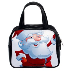 Christmas Santa Claus Snow Red White Classic Handbags (2 Sides) by Alisyart