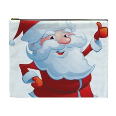 Christmas Santa Claus Snow Red White Cosmetic Bag (xl) by Alisyart