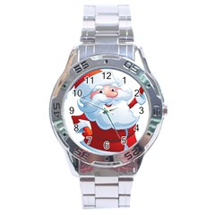 Christmas Santa Claus Snow Red White Stainless Steel Analogue Watch