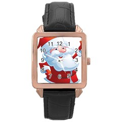 Christmas Santa Claus Snow Red White Rose Gold Leather Watch  by Alisyart
