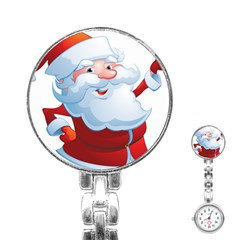 Christmas Santa Claus Snow Red White Stainless Steel Nurses Watch by Alisyart