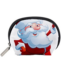 Christmas Santa Claus Snow Red White Accessory Pouches (small)