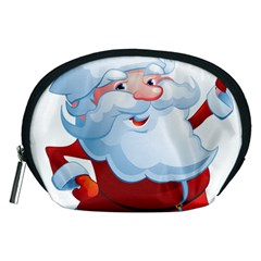 Christmas Santa Claus Snow Red White Accessory Pouches (medium)