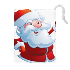 Christmas Santa Claus Snow Red White Drawstring Pouches (extra Large)