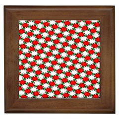 Christmas Star Red Green Framed Tiles