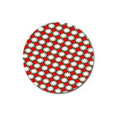 Christmas Star Red Green Magnet 3  (round) by Alisyart