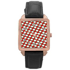 Christmas Star Red Green Rose Gold Leather Watch
