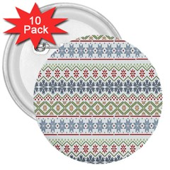 Christmas Star Flower Red Blue 3  Buttons (10 Pack)
