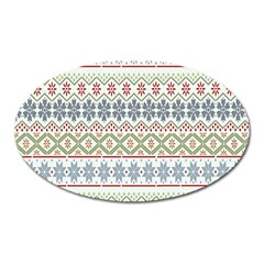 Christmas Star Flower Red Blue Oval Magnet by Alisyart