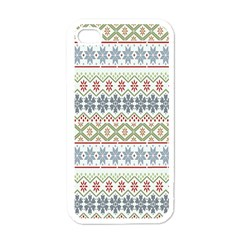 Christmas Star Flower Red Blue Apple Iphone 4 Case (white)
