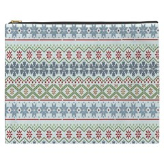 Christmas Star Flower Red Blue Cosmetic Bag (xxxl)