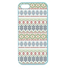 Christmas Star Flower Red Blue Apple Seamless Iphone 5 Case (color) by Alisyart
