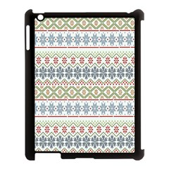 Christmas Star Flower Red Blue Apple Ipad 3/4 Case (black) by Alisyart