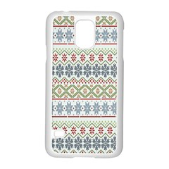 Christmas Star Flower Red Blue Samsung Galaxy S5 Case (white)
