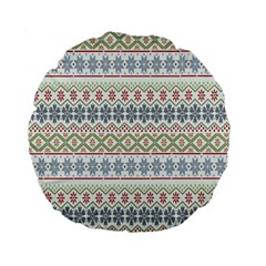 Christmas Star Flower Red Blue Standard 15  Premium Flano Round Cushions