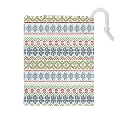 Christmas Star Flower Red Blue Drawstring Pouches (extra Large)
