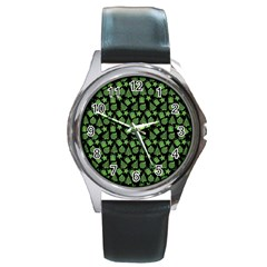 Christmas Pattern Gif Star Tree Happy Green Round Metal Watch by Alisyart