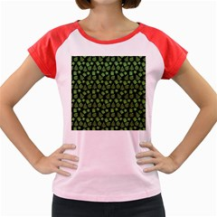 Christmas Pattern Gif Star Tree Happy Green Women s Cap Sleeve T Shirt