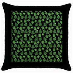 Christmas Pattern Gif Star Tree Happy Green Throw Pillow Case (black) by Alisyart