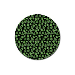 Christmas Pattern Gif Star Tree Happy Green Magnet 3  (round) by Alisyart