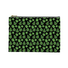 Christmas Pattern Gif Star Tree Happy Green Cosmetic Bag (large)  by Alisyart