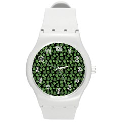 Christmas Pattern Gif Star Tree Happy Green Round Plastic Sport Watch (m)
