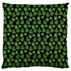 Christmas Pattern Gif Star Tree Happy Green Large Flano Cushion Case (one Side) by Alisyart