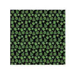 Christmas Pattern Gif Star Tree Happy Green Small Satin Scarf (square)