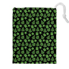 Christmas Pattern Gif Star Tree Happy Green Drawstring Pouches (xxl)
