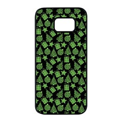 Christmas Pattern Gif Star Tree Happy Green Samsung Galaxy S7 Edge Black Seamless Case